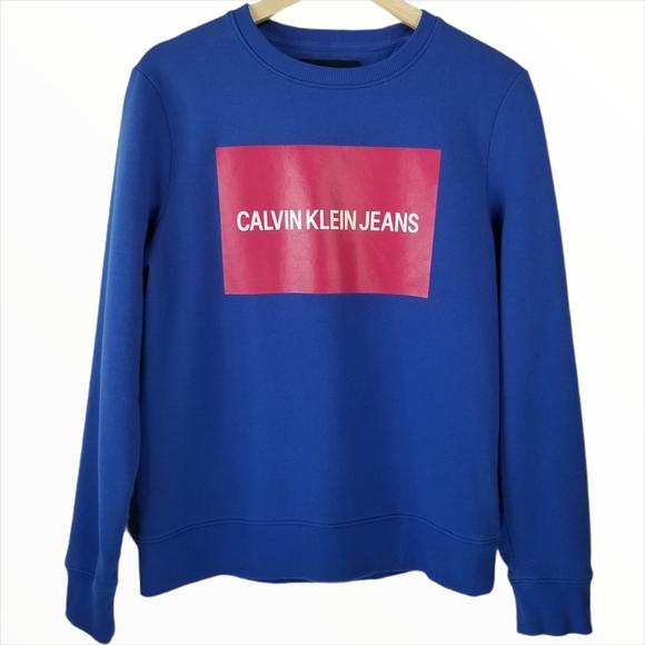 Calvin Klein Logo Blue and Pink Crew Neck Sweater